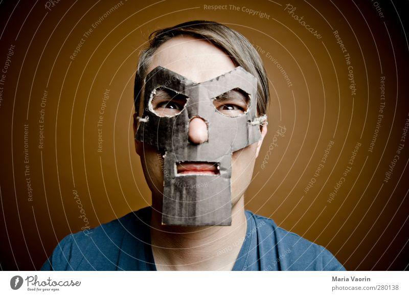Super-monkey-man Basteln maskulin Mann Erwachsene 1 Mensch 30-45 Jahre Maske brünett kurzhaarig Scheitel beobachten Aggression bedrohlich dunkel trashig