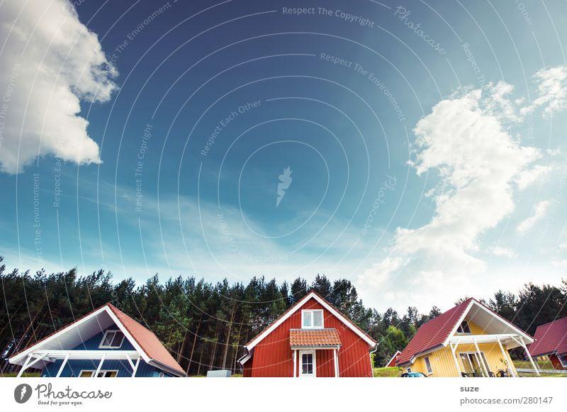 Farbraum Himmel Natur Ferien & Urlaub & Reisen rot Wolken ruhig Haus Landschaft Wald Erholung Umwelt Fenster Freiheit außergewöhnlich natürlich Fassade