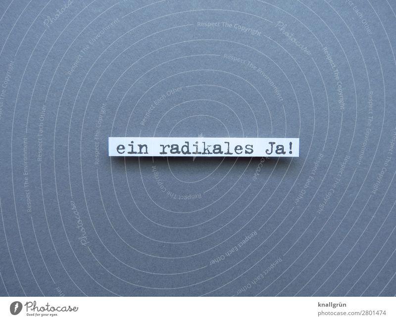 Ein radikales Ja! Zustimmung Entschlossenheit Entscheidung positiv eindeutig Erwartung Stimmung entschieden Typographie Text Buchstaben Wort Satz Schriftzeichen