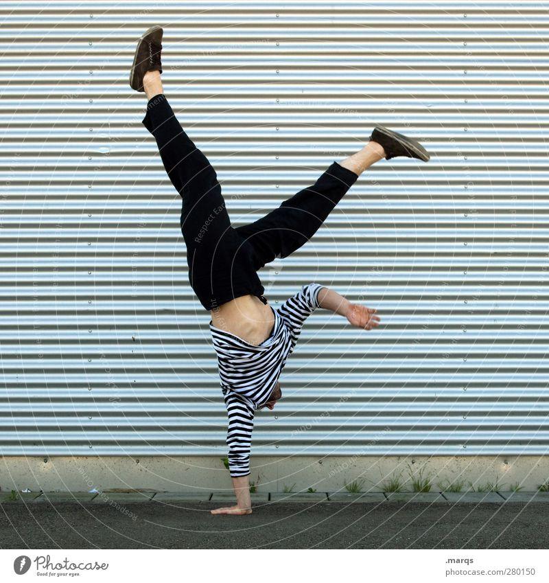 Akro Mensch Freude Erwachsene Sport Stil Linie Tanzen Kraft Fassade maskulin Erfolg Lifestyle Streifen Coolness Fitness sportlich