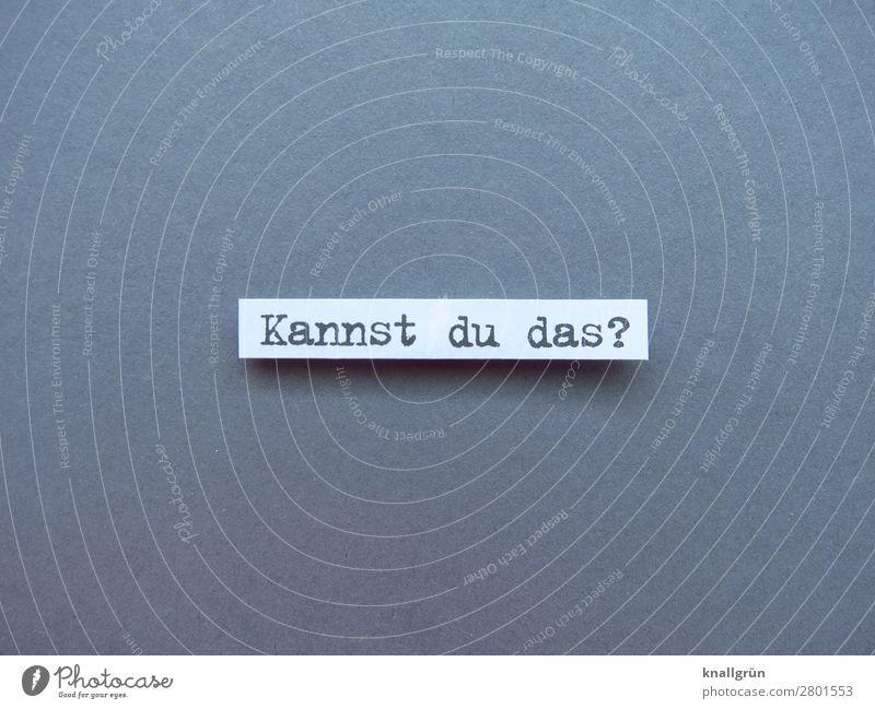 Kannst du das? Fragen Neugier Interesse Erwartung skeptisch Fragezeichen Schriftzeichen Farbfoto Kommunizieren Menschenleer Freisteller Studioaufnahme