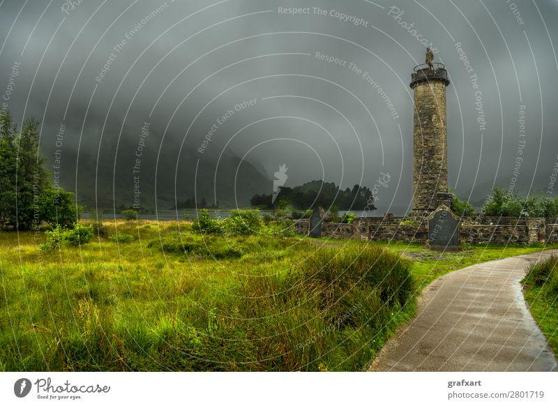 Glenfinnan Monument am Loch Shiel in Schottland Natur Landschaft Wolken Wald Reisefotografie Umwelt Wege & Pfade Tourismus See Regen Nebel Aussicht Insel Fußweg