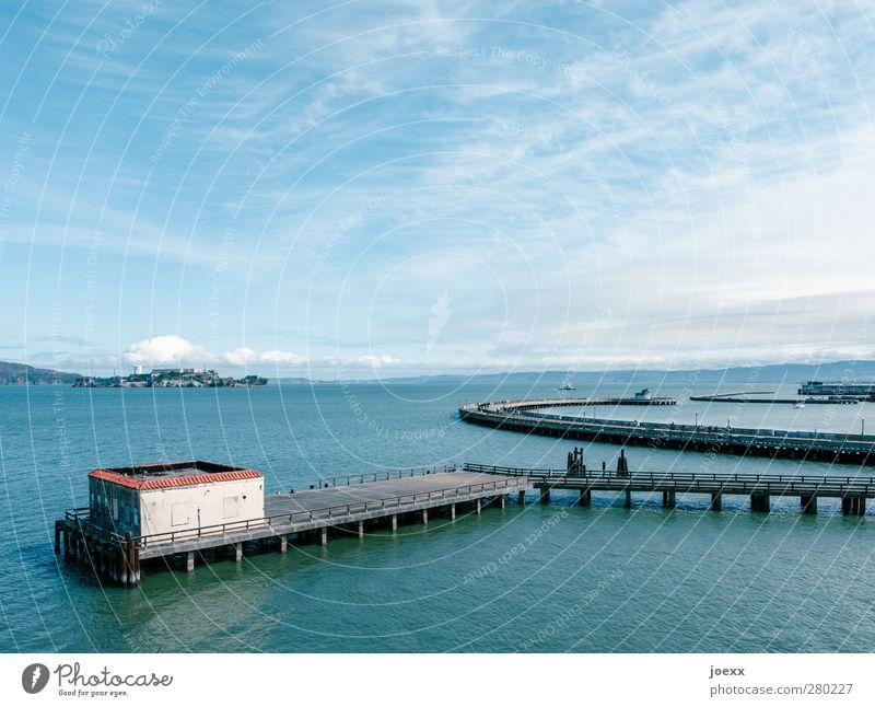 Garage zu vermieten Wasser Himmel Horizont Schönes Wetter Küste Bucht Insel San Francisco Alcatraz Kalifornien Stars and Stripes Hütte blau grau schwarz weiß