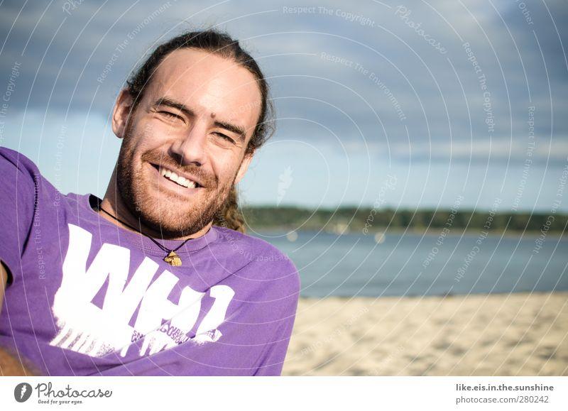tag am meer Mann Jugendliche Ferien & Urlaub & Reisen Sommer Meer Strand Erwachsene Erholung Leben lachen Glück Kopf Sand 18-30 Jahre Zufriedenheit maskulin