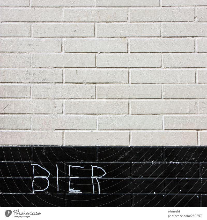 Prost weiß schwarz Haus Graffiti Wand Mauer Fassade Schriftzeichen Getränk Bier Typographie Alkohol Erfrischungsgetränk