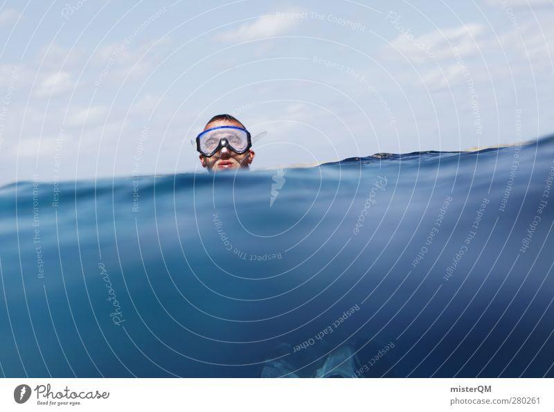 Tauch ein. Jugendliche blau Meer Umwelt Freiheit Kopf Schwimmen & Baden Klima Zufriedenheit ästhetisch Schönes Wetter Im Wasser treiben Sommerurlaub Mittelmeer