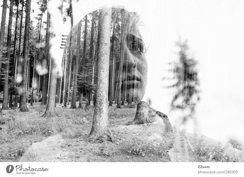 melancholie Mensch feminin Umwelt Natur Landschaft Baum Wald Schal blond langhaarig Denken träumen Traurigkeit dunkel schön Krankheit trist Schmerz Einsamkeit