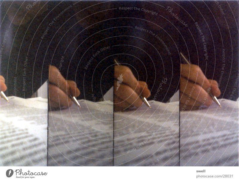 Schreibende Hand Schreibstift Lomografie Papier Text schreiben Super Sampler