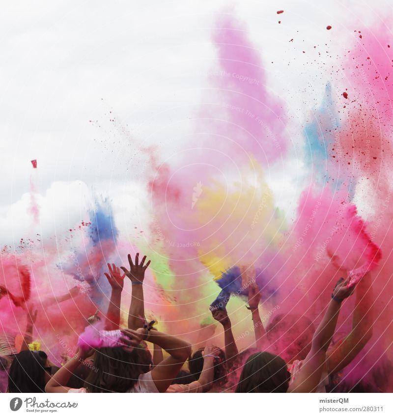 Holi Shit I Mensch Himmel (Jenseits) Hand Freude Gefühle Farbstoff Kunst außergewöhnlich Feste & Feiern Party ästhetisch Fröhlichkeit Kreativität Idee Kultur