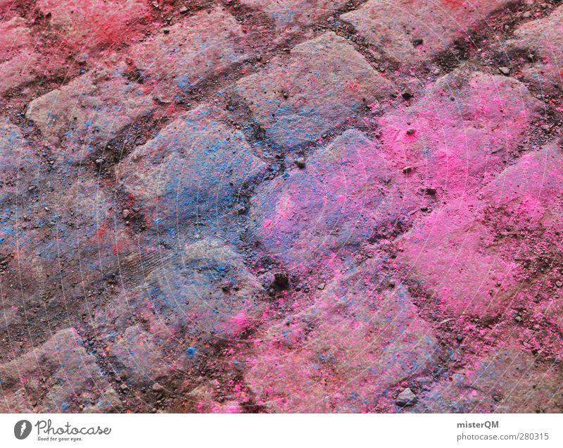 Holi Shit III blau Farbe Farbstoff Kunst rosa ästhetisch Boden Bodenbelag Pflastersteine Farbfleck Farbenspiel Farbverlauf Farbton Farbmittel Farbenwelt