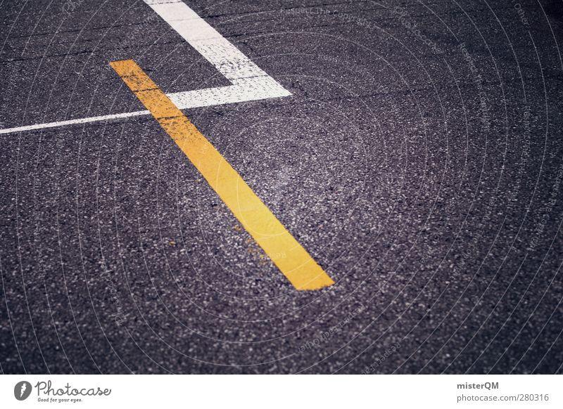 Startaufstellung. Kunst ästhetisch Asphalt Verkehrswege Straße Fahrbahn Fahrbahnmarkierung gelb Konkurrenz Rennsport Motorsport Rennbahn Beginn Startlinie