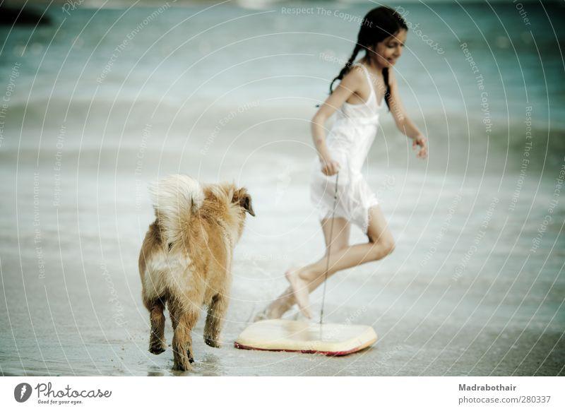 Sommerfreuden Freude Ferien & Urlaub & Reisen Sommerurlaub Strand Meer Wellen Surfbrett feminin Kind Mädchen Kindheit Wasser Küste Haustier Hund laufen Spielen