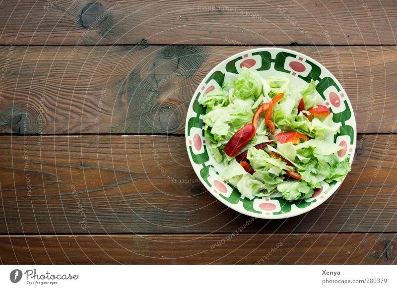 Grünzeug Lebensmittel Salat Salatbeilage Ernährung Mittagessen Vegetarische Ernährung Diät Schalen & Schüsseln Holz Gesundheit retro braun grün