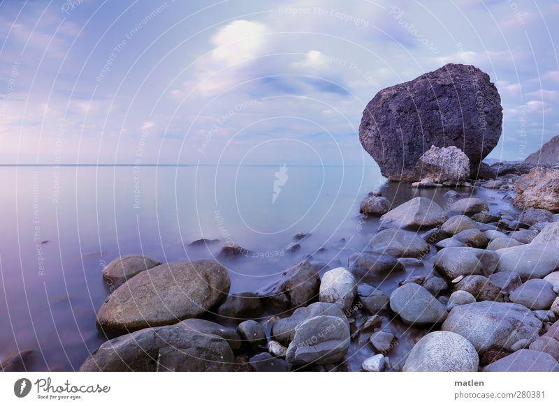 foundling Landschaft Himmel Wolken Horizont Sommer Wetter Schönes Wetter Küste Strand Bucht Meer blau grau Ruhe still Stein Felsen Farbfoto Gedeckte Farben