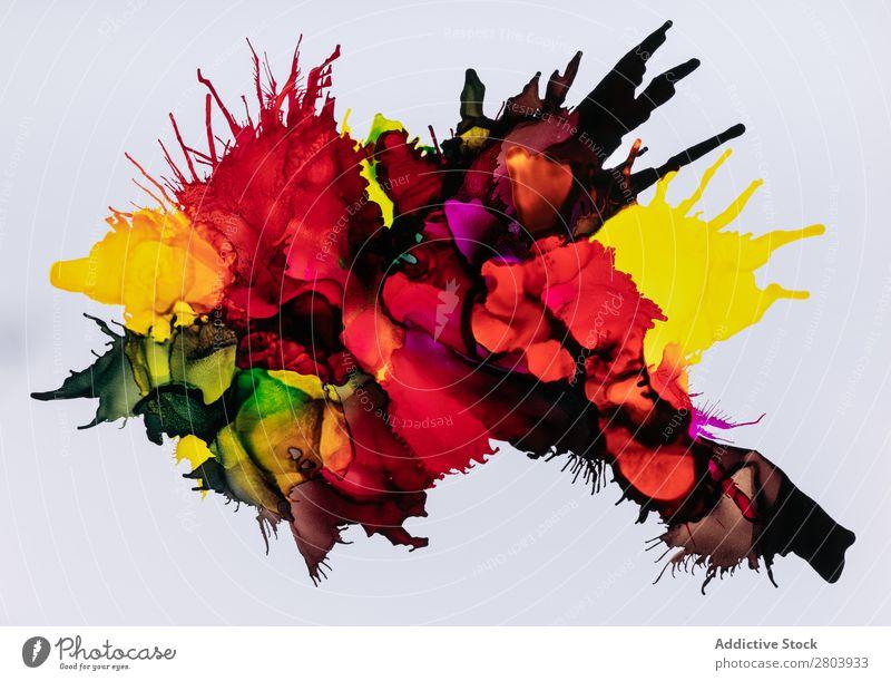 Mischung aus bunter Farbe malen mischen mehrfarbig dick abstrakt Kunst liquide Tinte Fleck Design Flüssigkeit fließen verschütten Farbstoff hell Spektrum