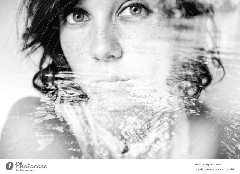 the same deep water as me Mensch Frau Natur Jugendliche schön Wasser ruhig 18-30 Jahre Erwachsene Umwelt Traurigkeit Gefühle feminin außergewöhnlich Denken