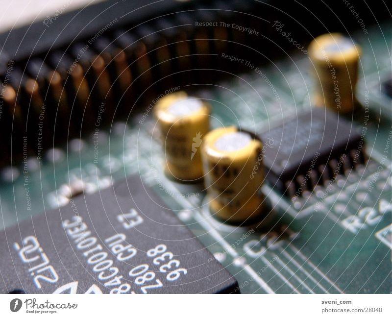 SCSI Platine Transistor Prozessor Mikrochip grün gelb Elektrisches Gerät Technik & Technologie Wiederstand