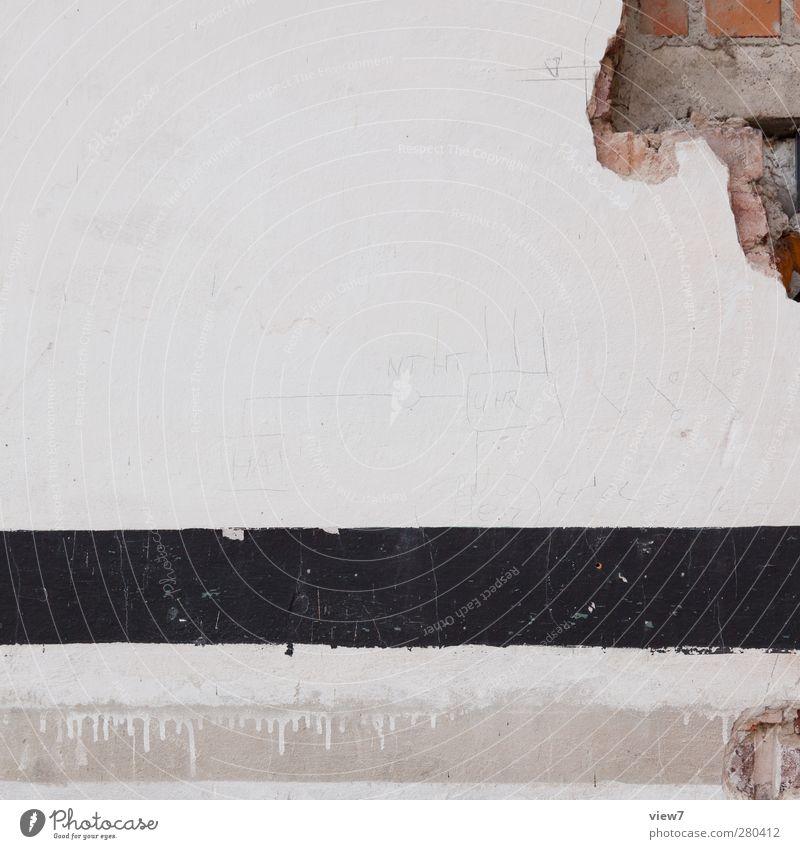 bisschen kaputt Haus Bauwerk Gebäude Architektur Mauer Wand Fassade Stein Beton Linie Streifen alt authentisch kalt retro braun schwarz weiß Aggression Beginn