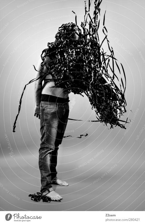 Metamorphose II elegant Stil Mensch maskulin Junger Mann Jugendliche 1 18-30 Jahre Erwachsene Skulptur Medien Filmindustrie Video Jeanshose Kommunizieren stehen