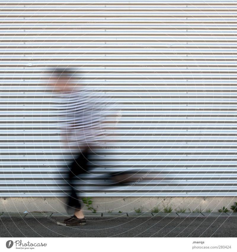 Flash Mensch Jugendliche Junger Mann Linie außergewöhnlich Fassade maskulin Erfolg frei Beginn Zukunft Geschwindigkeit Lifestyle Streifen Coolness Ziel