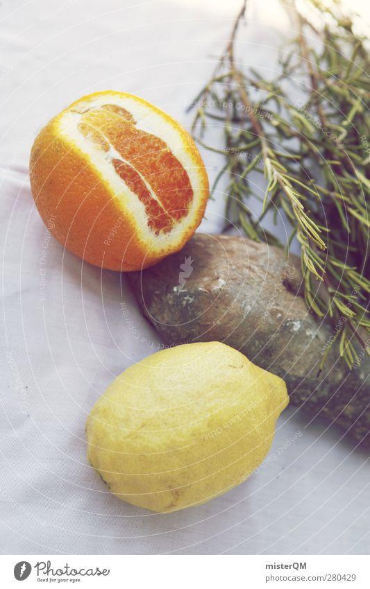 Mit Vitamin C. Gesundheit Kunst orange frisch Orange ästhetisch Tisch lecker Ernte Zitrone Landleben Rosmarin Erntedankfest Kräuter & Gewürze Mensch