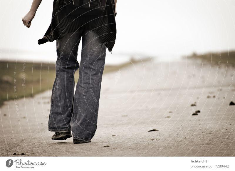 zum Ziel Mensch Einsamkeit Landschaft Erwachsene Ferne feminin Wege & Pfade Beine Gesundheit Horizont gehen wandern Ziel Jeanshose Nordsee Mut