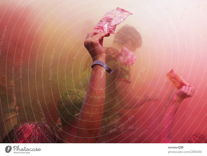 Holi Shit IV Jugendliche Hand Farbe Farbstoff Kunst rosa außergewöhnlich dreckig verrückt ästhetisch Veranstaltung Indien Ekel Musikfestival Farbenspiel