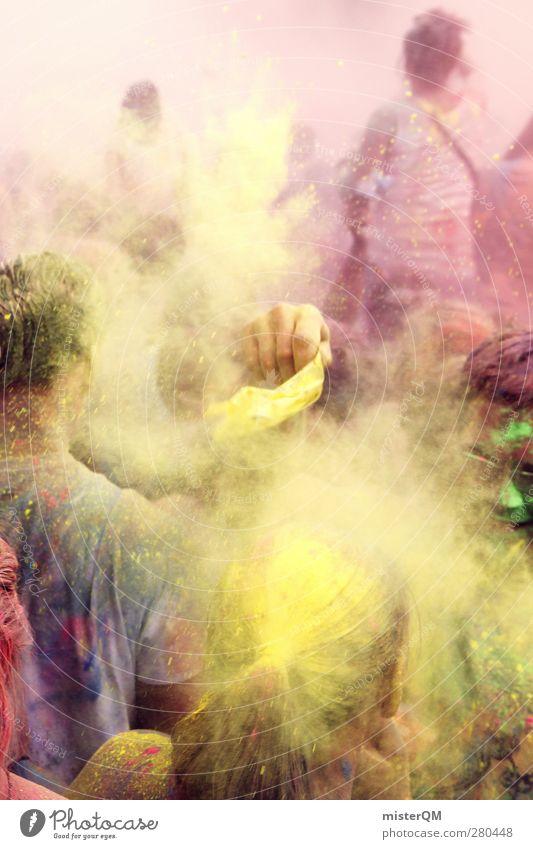 Holi Shit V Jugendliche Farbe Freude gelb Gefühle Farbstoff Party Kunst dreckig verrückt ästhetisch Kreativität Idee Musikfestival toben Pulver