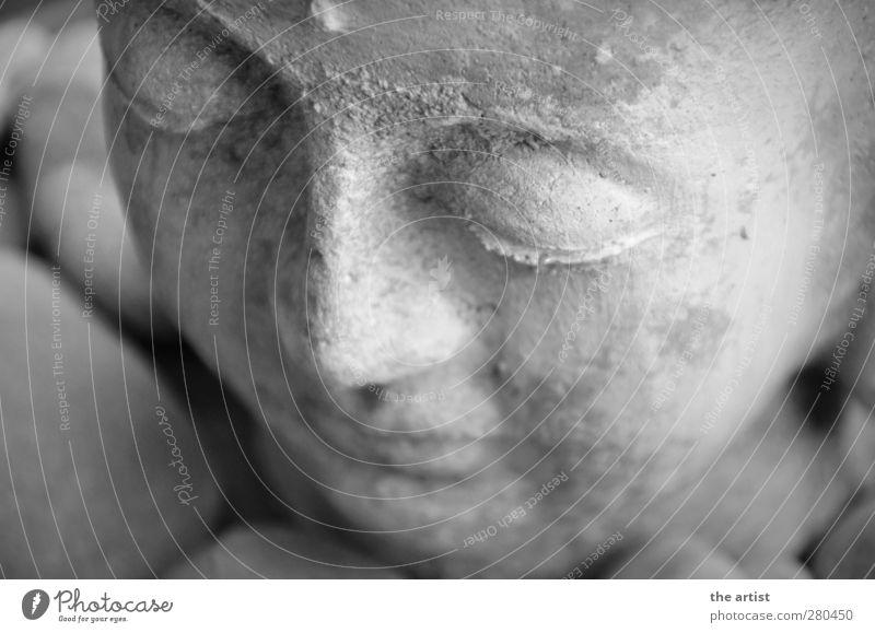 Buddha Skulptur Stein Denken Erholung fest Glück grau Zufriedenheit Akzeptanz Sicherheit achtsam Frieden Kunst ruhig Buddhismus Buddha Statue Schwarzweißfoto