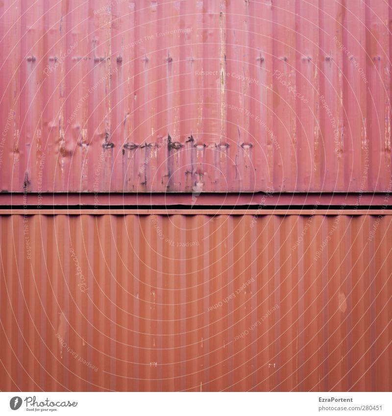 DoppelRot Industrie Handel Güterverkehr & Logistik Verkehr Metall orange rot paarweise 2 Container rustikal alt Abnutzung Quadrat Linie abstrakt minimalistisch
