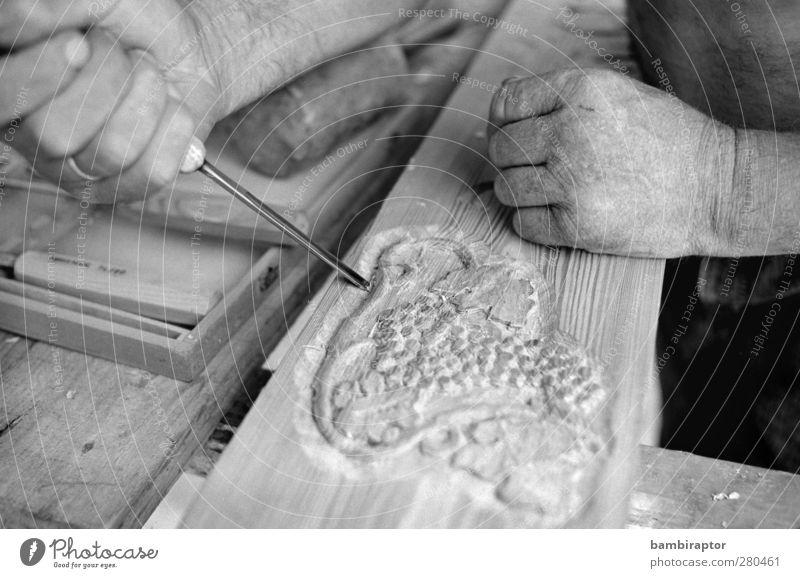 Der Schnitzer Mann Hand Erwachsene Holz Arbeit & Erwerbstätigkeit Freizeit & Hobby Finger Handwerk Werkzeug Messer Künstler Handwerker Kunsthandwerk verziert