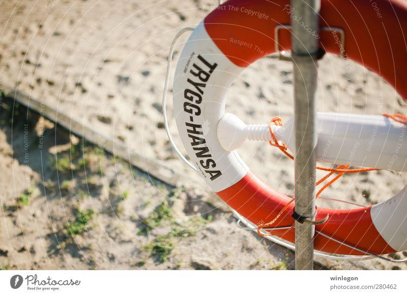 am strand Lifestyle Freude Glück sportlich Ferien & Urlaub & Reisen Tourismus Ausflug Kreuzfahrt Sommer Strand Meer Rettung trygg hansa Rettungsring