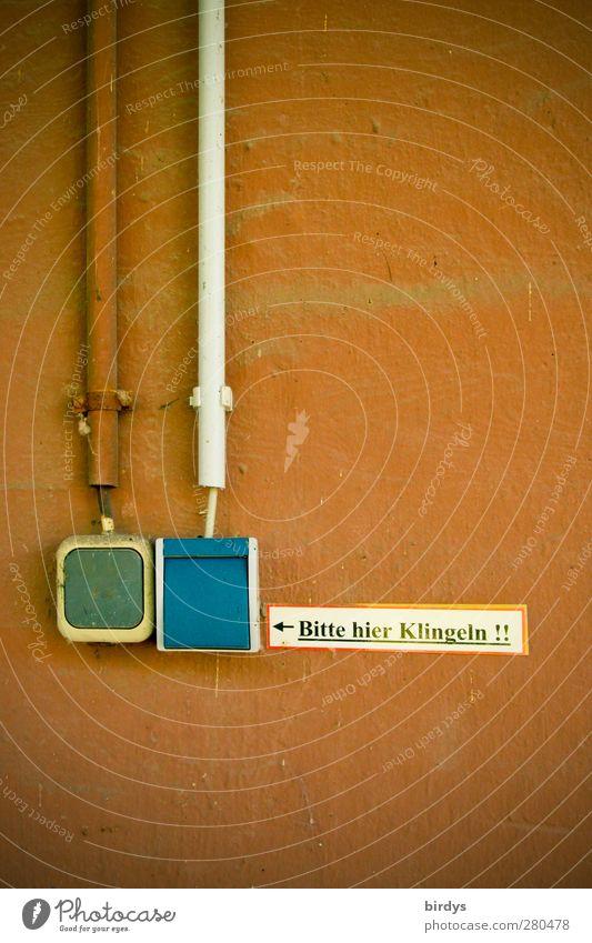 Klingel ? Technik & Technologie Mauer Wand Fassade Schalter Kabel Schilder & Markierungen Hinweisschild Warnschild authentisch Originalität blau braun Stadt