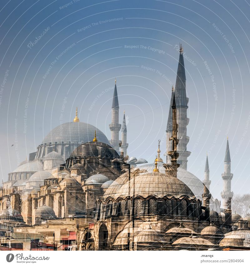 Moschee Tourismus Wolkenloser Himmel Sommer Schönes Wetter Istanbul Türkei Bauwerk Architektur Perspektive Religion & Glaube Doppelbelichtung Farbfoto
