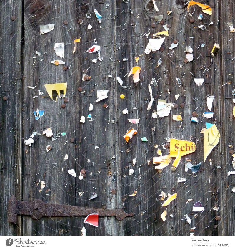 Mitteilungsbedürfnis befriedigt? alt Wand Holz grau Mauer Tür Fassade Schriftzeichen Papier viele Kommunizieren lesen Vergänglichkeit Kultur Neugier festhalten