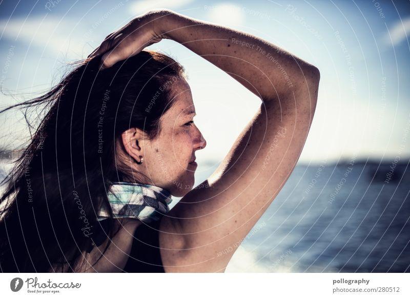 feel free Sommerurlaub Mensch feminin Frau Erwachsene Leben Kopf Arme 1 Natur Landschaft Wasser Himmel Wolken Horizont Schönes Wetter Wind Wellen Ostsee Meer