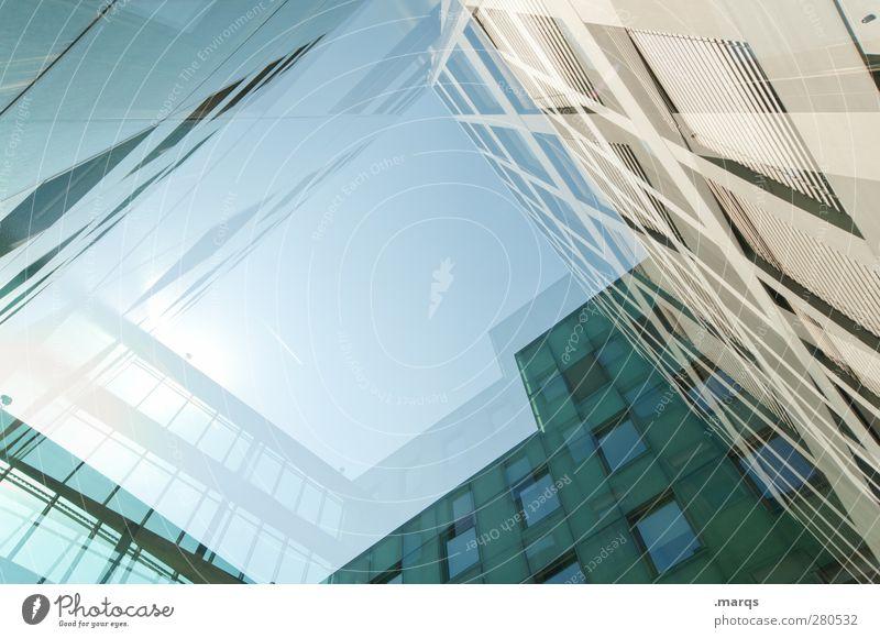 Nach oben offen blau grün Fenster Architektur Gebäude Stil außergewöhnlich Fassade hoch elegant Design Zukunft Hochhaus modern Lifestyle Perspektive