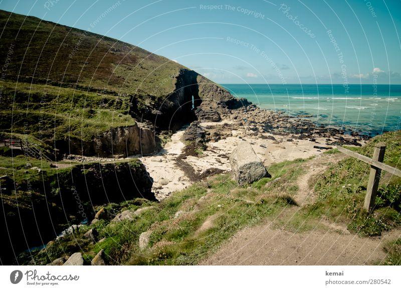 Lieblingsbucht Umwelt Landschaft Pflanze Urelemente Erde Wasser Himmel Wolken Sonnenlicht Sommer Schönes Wetter Gras Sträucher Grünpflanze Hügel Küste Strand