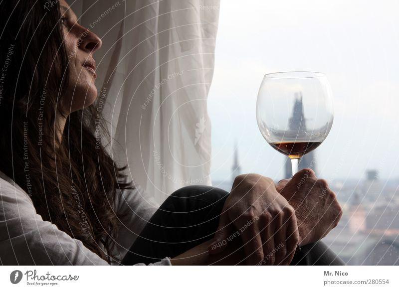 stößchen - *500* Wohnung Raum feminin Gesicht Hand 1 Mensch 30-45 Jahre Erwachsene Fenster brünett langhaarig Liebeskummer Köln Kölner Dom Weinglas Hochhaus