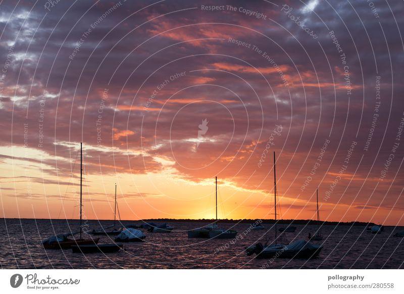 ...und ein schöner Tag geht zu Ende Himmel Natur Wasser Ferien & Urlaub & Reisen Sommer Sonne Meer Wolken Landschaft Ferne Umwelt Küste Freiheit Horizont