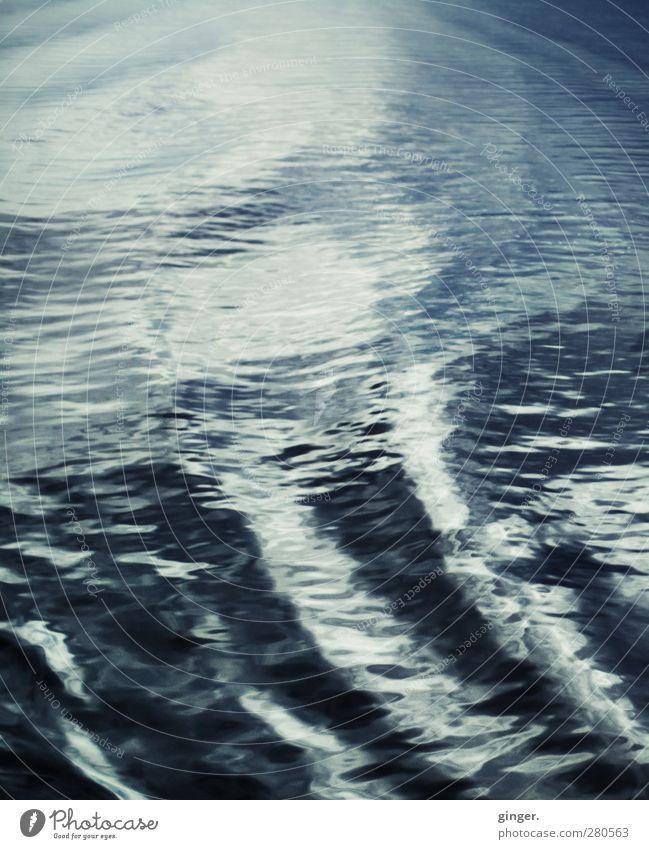 Hiddensee | Bleigraue See Umwelt Wasser Wellen blau blau-grau Riffel malen Schatten Schattenspiel Heck hell dunkel Bewegung Gedeckte Farben Außenaufnahme