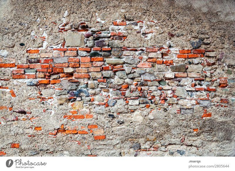 Mauer Wand Backsteinwand alt kaputt Vergänglichkeit Wandel & Veränderung Farbfoto Außenaufnahme Menschenleer Textfreiraum links Textfreiraum rechts