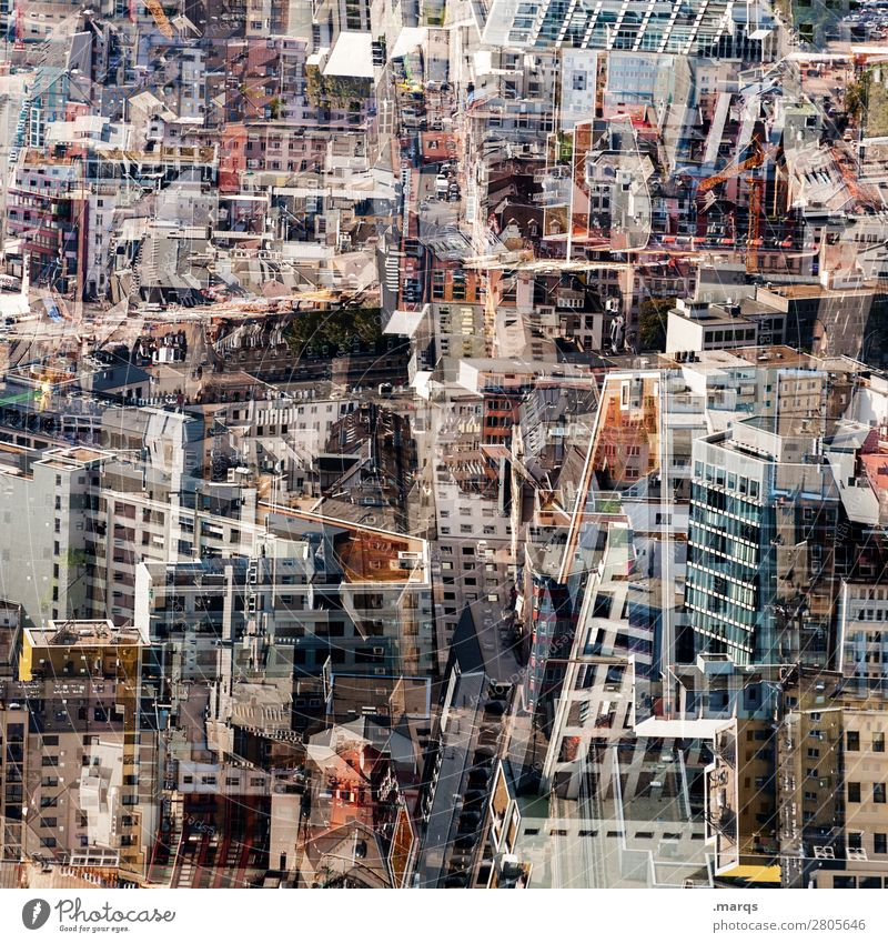 Frankfurt Frankfurt am Main Stadt Stadtzentrum überbevölkert Haus Gebäude Architektur Häusliches Leben chaotisch Zukunft Immobilienmarkt Farbfoto Außenaufnahme