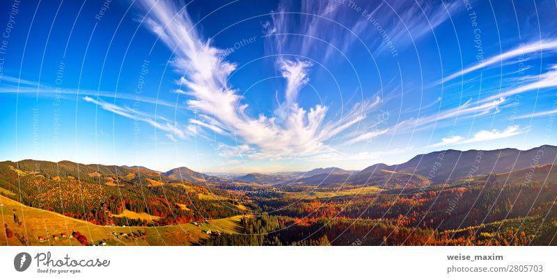 Himmel Ferien & Urlaub & Reisen Natur schön grün Landschaft rot Baum Haus Wolken Wald Ferne Berge u. Gebirge Herbst gelb Umwelt
