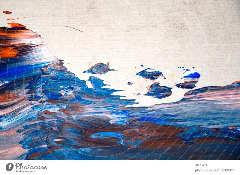 Brandung Design Anstreicher Kunst Mauer Wand außergewöhnlich dreckig einzigartig blau rot weiß Farbe Hintergrundbild verrückt chaotisch durcheinander Farbfoto