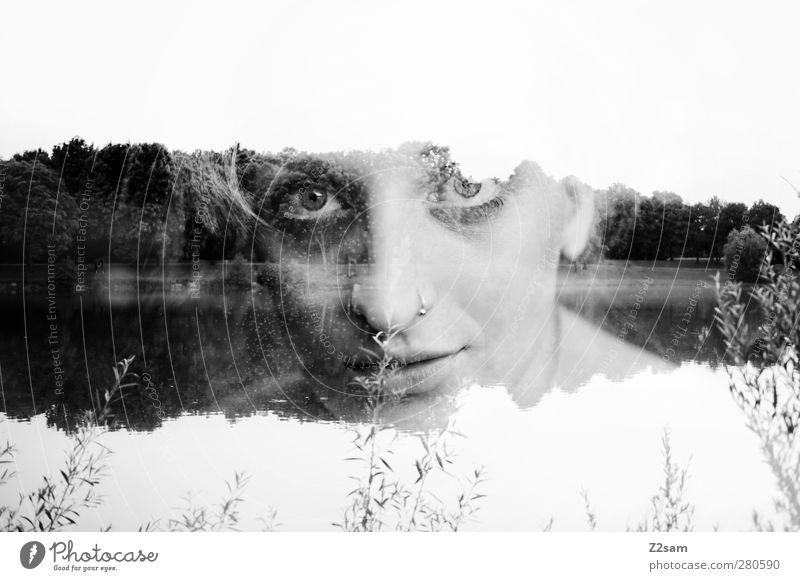 daydream Mensch Natur Jugendliche Wasser schön Sommer ruhig Landschaft Erwachsene Umwelt feminin Junge Frau See träumen 18-30 Jahre blond