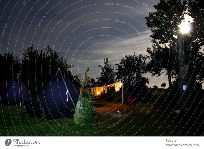 Nachtruhe Abenteuer Camping Nachthimmel Stern Mond schlafen blau grün Natur Zeltlager Campingplatz ruhig Außenaufnahme Wald Ausflug Lichteinfall Nachtlicht