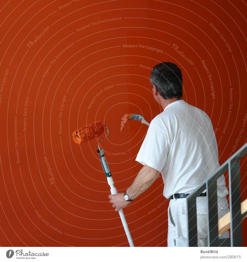 Manche Dinge machen unglaublich glücklich Mensch Mann schön weiß Erwachsene Wand Bewegung Gebäude Arbeit & Erwerbstätigkeit orange maskulin Büro