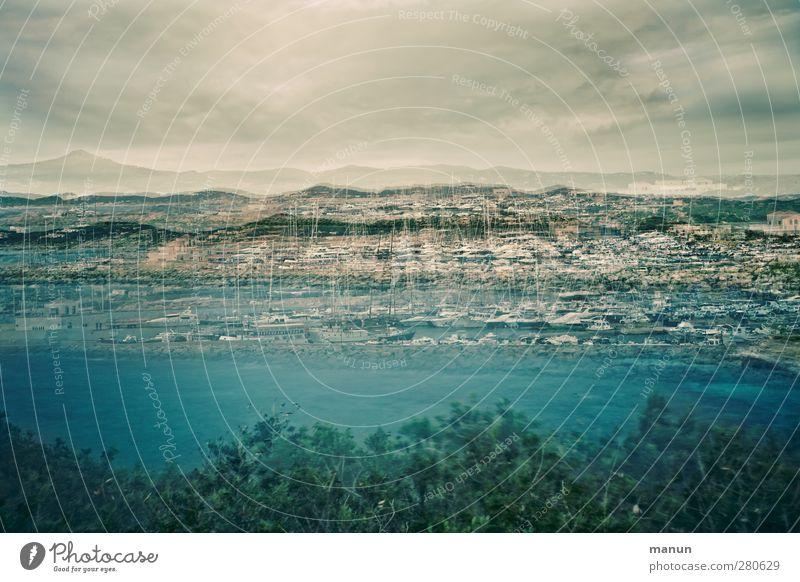 Porto Natur Landschaft Wolken Wildpflanze Hügel Küste Bucht Meer Sardinien Schifffahrt Sportboot Jacht Segelboot Jachthafen außergewöhnlich Kreativität Kunst