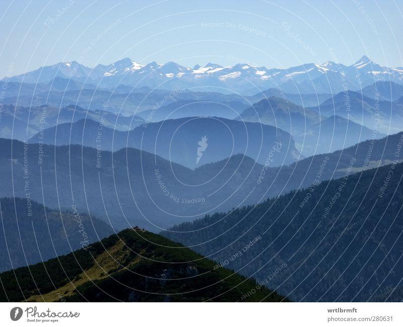 Weitblick Himmel blau Ferien & Urlaub & Reisen Landschaft Wald Erholung Umwelt Horizont Freizeit & Hobby Zufriedenheit Schönes Wetter Alpen Gipfel